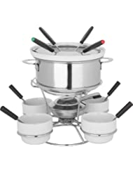 Trudeau Home Presence Fenty 44 Ounce Stainless Steel Fondue Set With Lazy Susan - 17 Piece