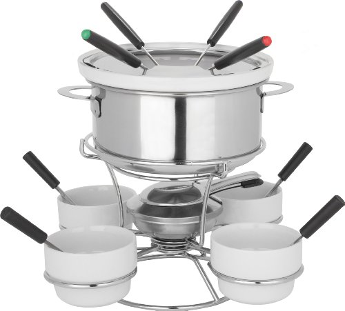 (Trudeau Home Presence Fenty 44 Ounce Stainless Steel Fondue Set With Lazy Susan - 17 Piece)