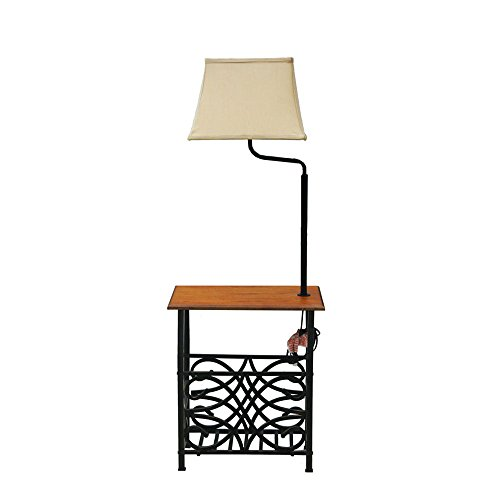 Goodygogo Table with Assemble-in Floor Lamp & Magazine Holder Bronze Finish