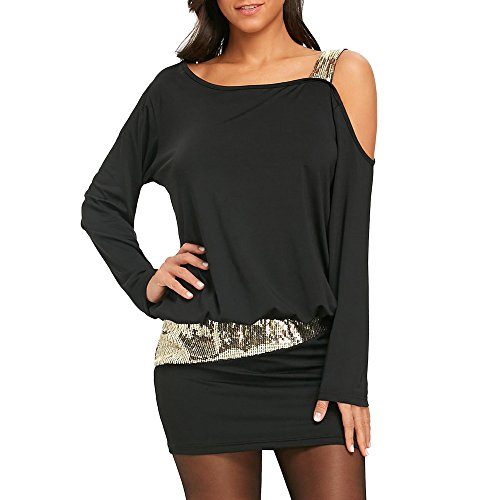 d Shoulder Long Sleeve Sequins Mini Shirt Dress Plus Size Loose (Black,M) ()