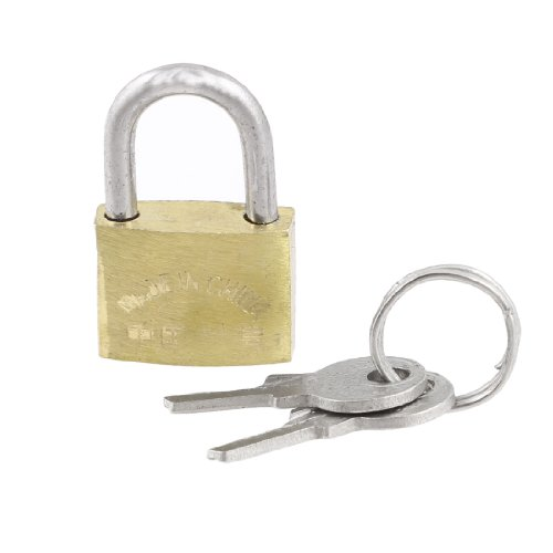 uxcell® Cabinet Jewlery Box Brass 20mm Width Padlock Gold Tone w 2 Pcs Keys