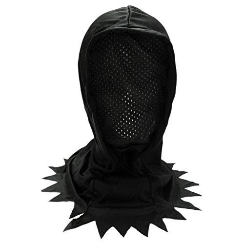 Olwen Shop Adult/Teen Black Hidden Face Mask Hood ~ Halloween Scary Horror Black MESH -