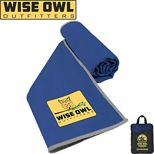 Believe Bath (Wise Owl Outfitters Camping Towel - Ultra Soft Compact Quick Dry Microfiber Best Fitness Beach Hiking Yoga Travel Sports Backpacking & The Gym Fast Drying, Free Bonus Washcloth Hand Towel - XL Rblue)