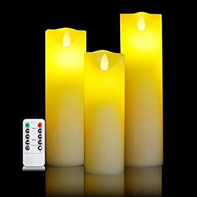 """Flameless Battery Candles With Remote Timer Super-long Set 7"""" 8"""" 9"""" Flickering Dancing Flame White Led Pillar Candles by Letetop (Ivory)"""