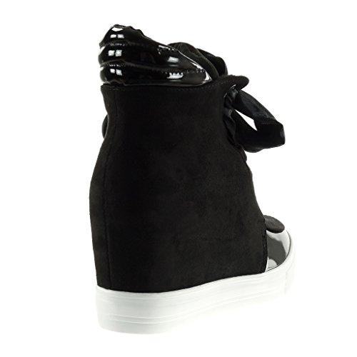 Angkorly - Scarpe da Moda Sneaker Zeppa classic donna lucide Tacco zeppa piattaforma 7 CM - Nero