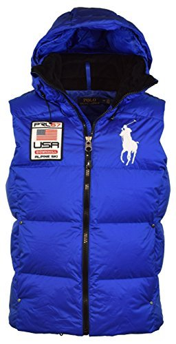 Polo Ralph Lauren Men's Big Pony Alpine Ski Patch Puffer Vest, Sapphire Star, - Pony Big Polo Men Vest For