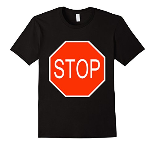 Men Halloween Costumes Simple (Mens Stop Sign Simple Easy Halloween Costume T-Shirt Medium Black)