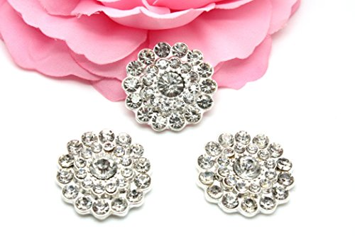 ne Embellishments (10 Pieces) Clear Flatback Rhinestone Buttons ()