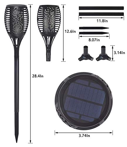 Solar Torch Light, Outdoor Waterproof Flickering Flames Solar Torches Dancing Flames Landscape Decoration Lighting Lamp for Garden Patio Deck Yard Driveway Pathway (4 Pack) by Wiw (Image #4)