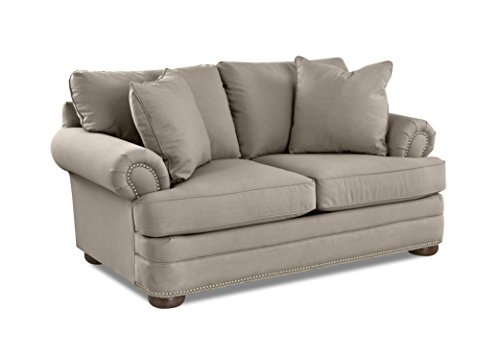 Klaussner Home Furnishings Tilden Loveseat with 2 Throw Pillows, 45 L x 75 W x 37 H, Dune