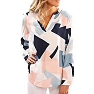 Womens Shirts Floral Printed V-Neck Long Sleeves Geometric Pattern Blouses Casual Tops