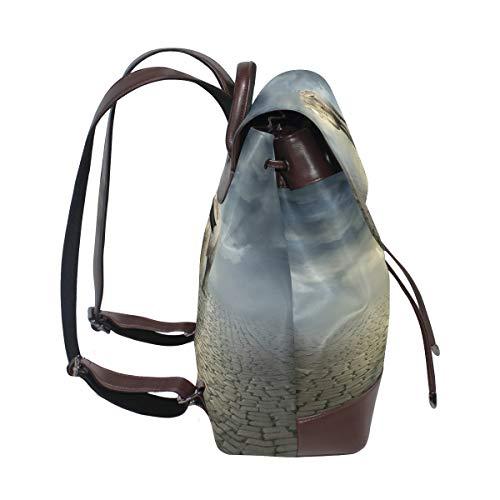 Elefant surrealistisk ryggsäck handväska mode PU-läder ryggsäck ledig ryggsäck för kvinnor