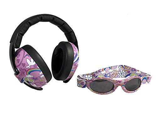 Baby Banz Earmuffs Infant and Toddler Hearing Protection Headphones - Packaged with BANZ Sunglasses Ages 0-2 Years - Ultimate Child Ear and Eye Protection - Stop Noise - Block Sun (Doodle Pink)