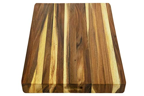 Villa Acacia Extra Large Wood Cutting Board 24x18 Inch, 1.5'' Thick Reversible Wooden Kitchen Block by Thirteen Chefs (Image #2)