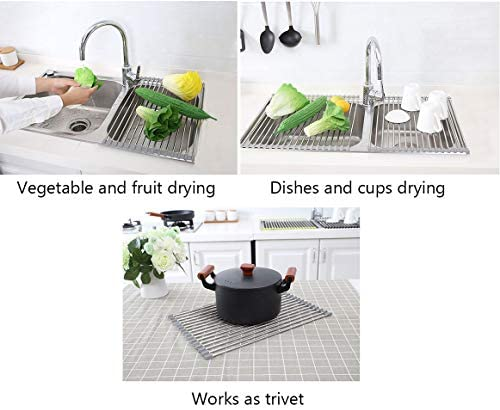 17.7″ x 11.5″ Long Dish Drying Rack, Attom Tech Home Roll Up Dish Racks Multipurpose Foldable Stainless Steel Over Sink Kitchen Drainer Rack for Cups Fruits Vegetables 41C3CXwyDSL