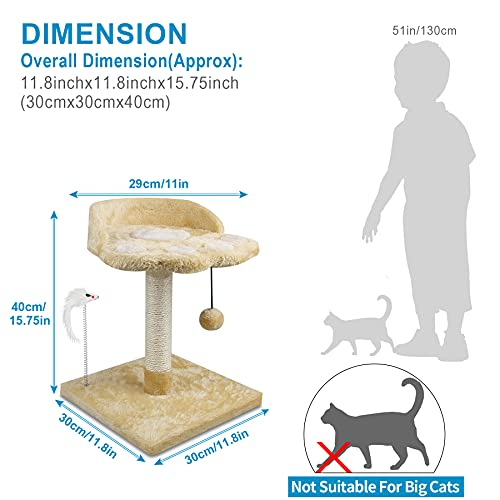 67i Cat Tree Cat Tower with Natural Sisal Scratching Posts Cat Activity Platform Furniture with Hanging Ball and Spring Plush Mouse Toys for Kitten Small Cats (Beige, D-Beige)