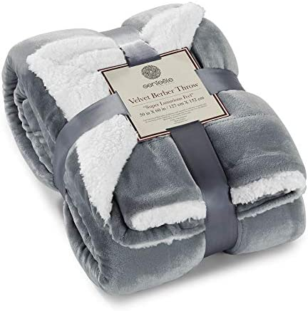 Genteele Sherpa Throw Blanket Super Soft Reversible Ultra Luxurious Plush Blanket 50 Inches X 60 Inches Gray White Home Kitchen Amazon Com
