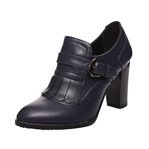 Carolbar Womens Buckle Decorations Fashion Chunky High Heel Dress Ankle Boots Deep Blue 35sLL