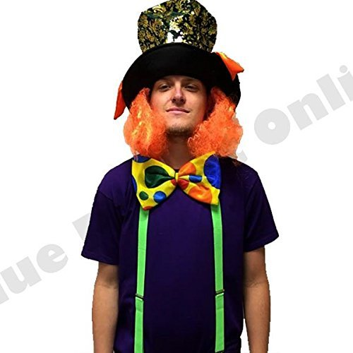 Mens Mad Hatter Alice in Wonderland Fancy Dress Costume (Top,Bow Tie,Braces,Hat with Hairs) (Men: Medium) by Blue Planet (Mad Hatter Fancy Dress)