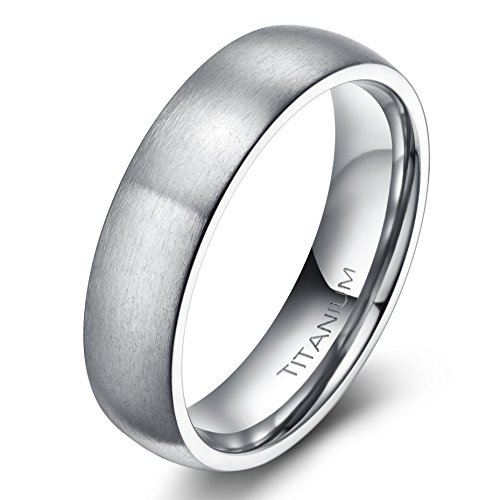 6mm Unisex Tungsten / Titanium Ring Brushed Dome Wedding Bands Comfort Fit Size 4-15 (Titanium, 10) (Dome Titanium Band)