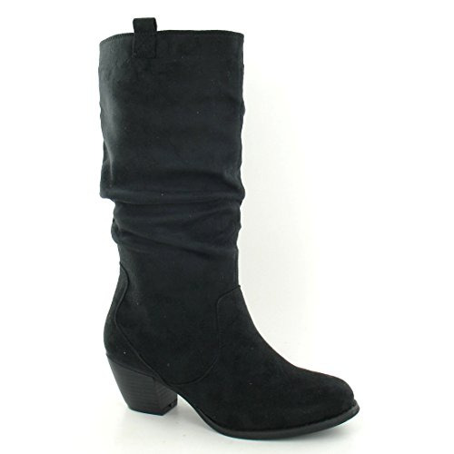 On Spot Ladies Heel Calf High Womens Black Boots Block 7zzqpZx