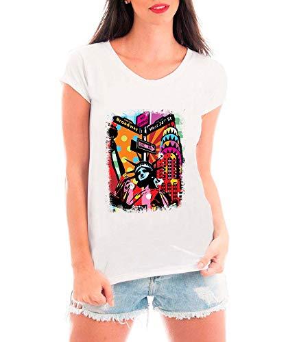Camiseta Blusa T Shirt Bata Criativa Urbana New York City Branco P