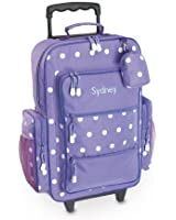 "Purple Polka Dot Personalized Kids Rolling Luggage - 5x12 x16""H, Kids Travel Bag"
