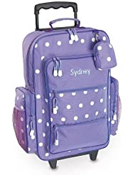 Purple Polka Dot Personalized Kids Rolling Luggage - 5x12 x 16 H, Kids Travel Bag
