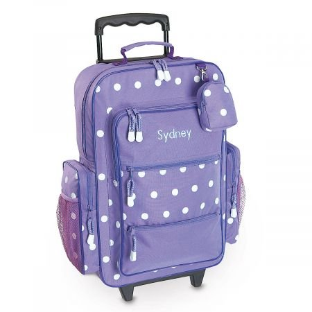 (Personalized Rolling Luggage for Kids - Purple Polka Dot Design, 6