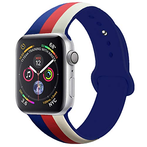 - Sport Band Compatible with Apple Watch Band 38mm 40mm 42mm 44mm, Premium Soft Silicone Bracelet Strap Replacement Band US for iWatch Series 4/3/2/1 (Antique White/Red/Midnight Blue, 38MM/40MM S/M)