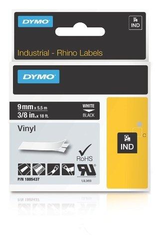 Rhino Labelers - RHINO (LABELER) 1805437 3/8 INCH BLACK VINYL LABEL 9MM