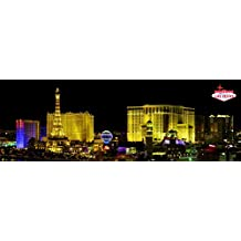 Posters: Las Vegas Poster Art Print - Night Panorama Of The Strip (36 x 12 inches)