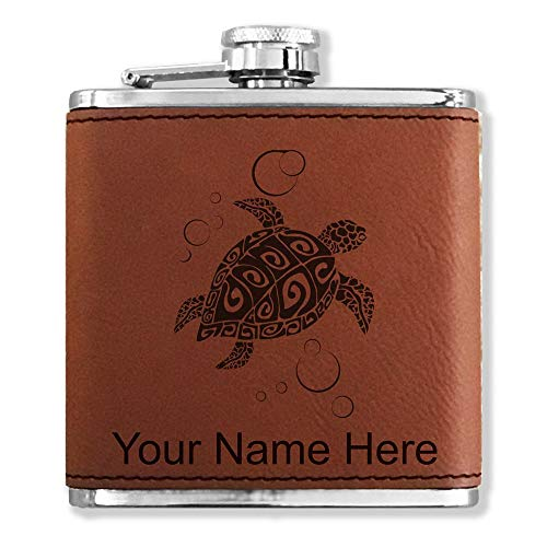 Faux Leather Flask, Hawaiian Sea Turtle, Personalized Engraving Included (Dark Brown)