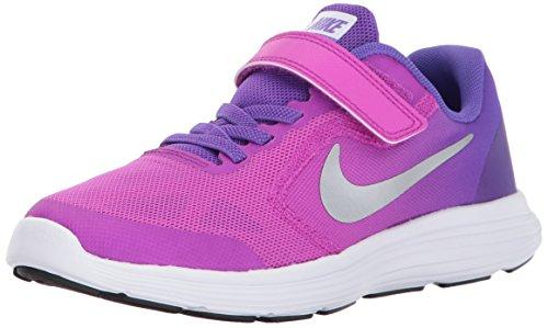 NIKE Kids' Revolution 3 (Psv) Running-Shoes, Hyper Violet/Metallic Silver/Hyper Grape, 3 M US Little Kid (Boys Preschool Nike Revolution 3 Running Shoes)