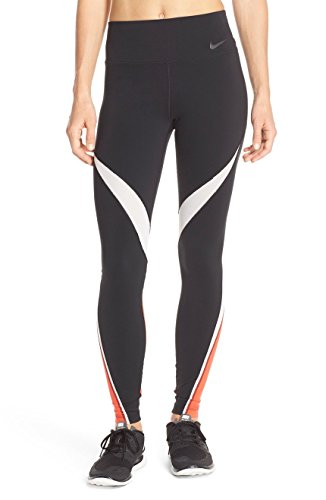 Nike Womens Dri-Fit Legendary Fabric Twist Veneer Training Tights 724963-451 (X-Small, Black/White/Light Crimson/Black)