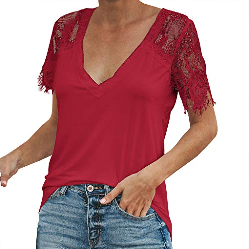ℱLOVESOOℱ 2019 Blouse Shirts for Women Sexy V Neck Lace Sleeve Splice Short-Sleeved Slim Tops Solid Wild Tshirt ()