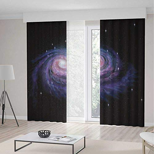 iPrint Galaxy Room Decor Curtains,Celestial Dust Votex Spiral Galaxy Nebula Fantasy Spark Plasma Stars Planet Print,Window Drapes 2 Panel Set Living Room Bedroom,236 W 106 L,Black Purple (Celestial Beaded Curtain)
