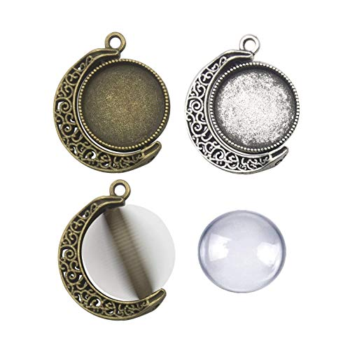 - 30pcs Kit Fit 25mm Moon Rotation Double Side Round Blank Bezel Pendant Trays Base Cabochon Settings Trays Pendant Blanks Jewelry Making DIY Findings 10Pcs Pendant Tray with 20Pcs Glass M235