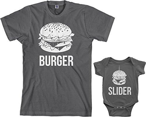 Threadrock Burger & Slider Infant Bodysuit & Men's T-Shirt Matching Set (Baby: 12M, Charcoal|Men's: XL, Charcoal)