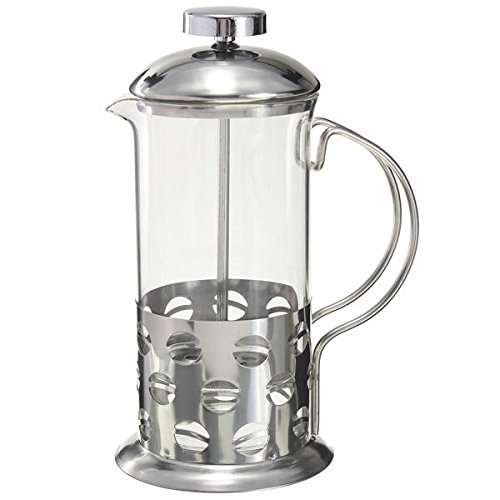 Coffee Tea Making Tools Coffee Percolators - Stainless Steel Glass Teapot Cafetiere French Coffee Tea Filter Press Plunger - 350ml - 1 x Stainless Steel Glass Cafetiere