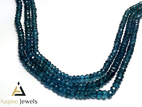 1 Strand Natural London Blue Topaz Loose Beads Strand, 3-4mm 13 Inch Faceted Rondelle London Blue Topaz Beads, Topaz Beads Necklace, Jewelry Making London Blue Topaz Beads, Knotted Blue Topaz Necklace