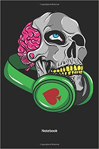 Notebook: Skull with headphones for music lovers (Numbered