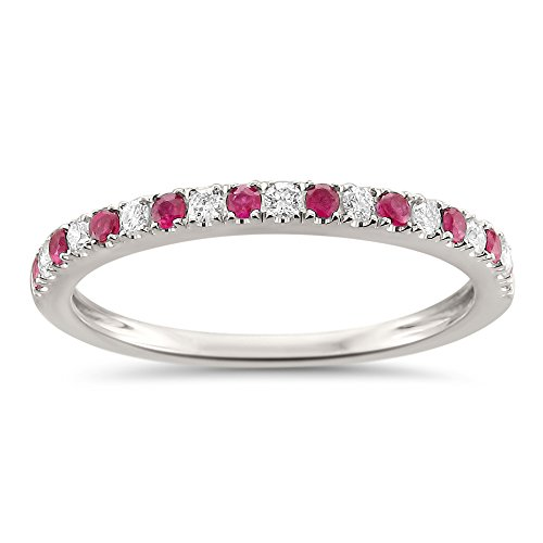 14k White Gold Round Diamond & Red Ruby Micro-Pave Bridal Wedding Band Ring (1/4 cttw, H-I, VS2-SI1), Size (Ruby Pave)