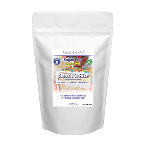 (GramZero, White Cake Kit, Makes 1 - 13x9x2 White Cake w/ Vanilla Frosting, Stevia Sweetened, SUGAR)