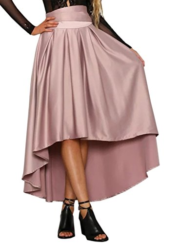 Futurino Women Solid Color Bowknot High Low Pleated Prom Party Skirt Pink M/US6-Pink
