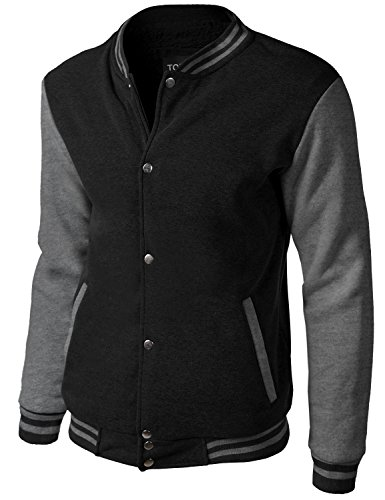 Uniform Varsity - Tonyclo Men's Baseball Varsity Uniform Button Down Fur Bomber Jackets Black_Grey Small (GJAM007)