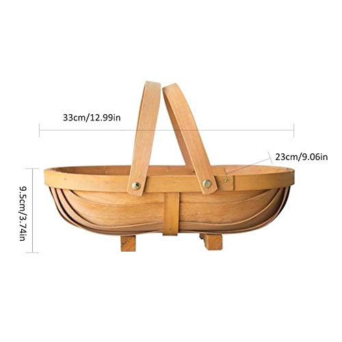 LEORSXCC Hand-Woven Storage Basket Laundry Container Wooden Boat Garden Flower Pot Planter Basket Picnic Barrel