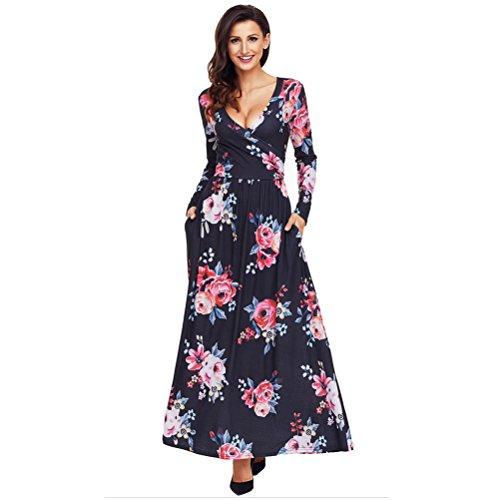 HUAN Robe Longue Imprime pour Femmes, Robe de Cocktail Sexy en V pour Dames, Jupe Longue  Manches Longues (Couleur : 3, Taille : L) 2