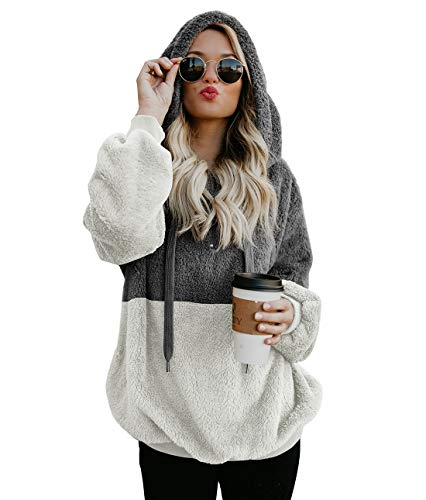 Hooded Sherpa Pullovers Hooded Sweatshirt for Women Long Sleeve Fashion Fuzzy Color Block Coat Jacket with Pockets 1/4 Zip Grey White ()