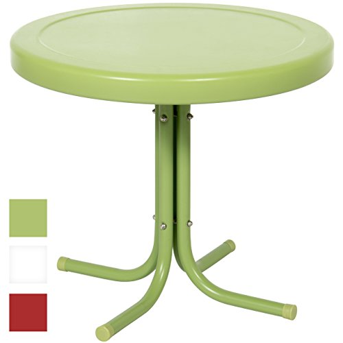 Best Choice Products 22in Indoor Outdoor Modern Round Metal Side Table w/UV and Weather Resistant Finish for Living Room, Patio, Porch, Garden, Backyard - Green